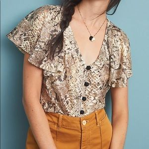 Eva Franco Snakeskin Button Blouse